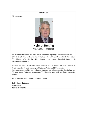 Nachruf Helmut Beising