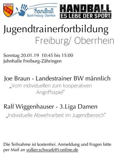 Jugendtrainerfortbildung Bezirk Freiburg/Oberrhein